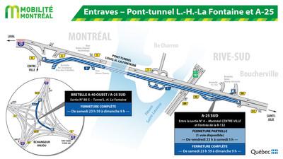 Entraves - Pont-tunnel L.-H.-La Fontaine et A-25 (Groupe CNW/Ministère des Transports)
