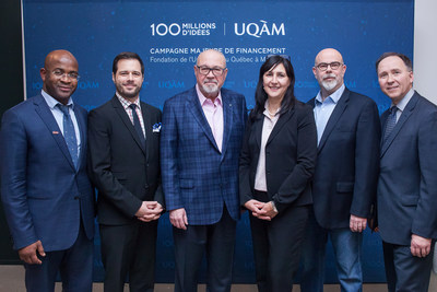 From left to right : ESG UQAM dean, Komlan Sedzro, Tourism Co-chairholder, Marc-Antoine Vachon, president and CEO of Transat A.T. inc., Jean-Marc Eustache, UQAM rector, Magda Fusaro, Tourism Chairholder, Paul Arseneault, Fondation de l'UQAM Executive Director, Pierre Bélanger (photo credit: Valerian Mazataud) (CNW Group/Transat A.T. Inc.)