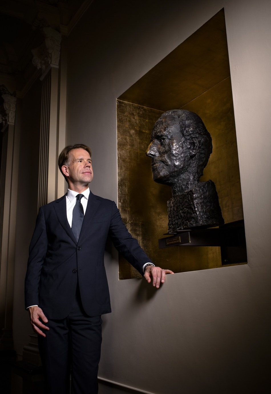 Simon Reinink - Managing Director The Royal Concertgebouw Amsterdam. With an art bust of Gustav Mahler made by his daughter Marina Mahler © Simon van Boxtel. (PRNewsfoto/The Royal Concertgebouw)