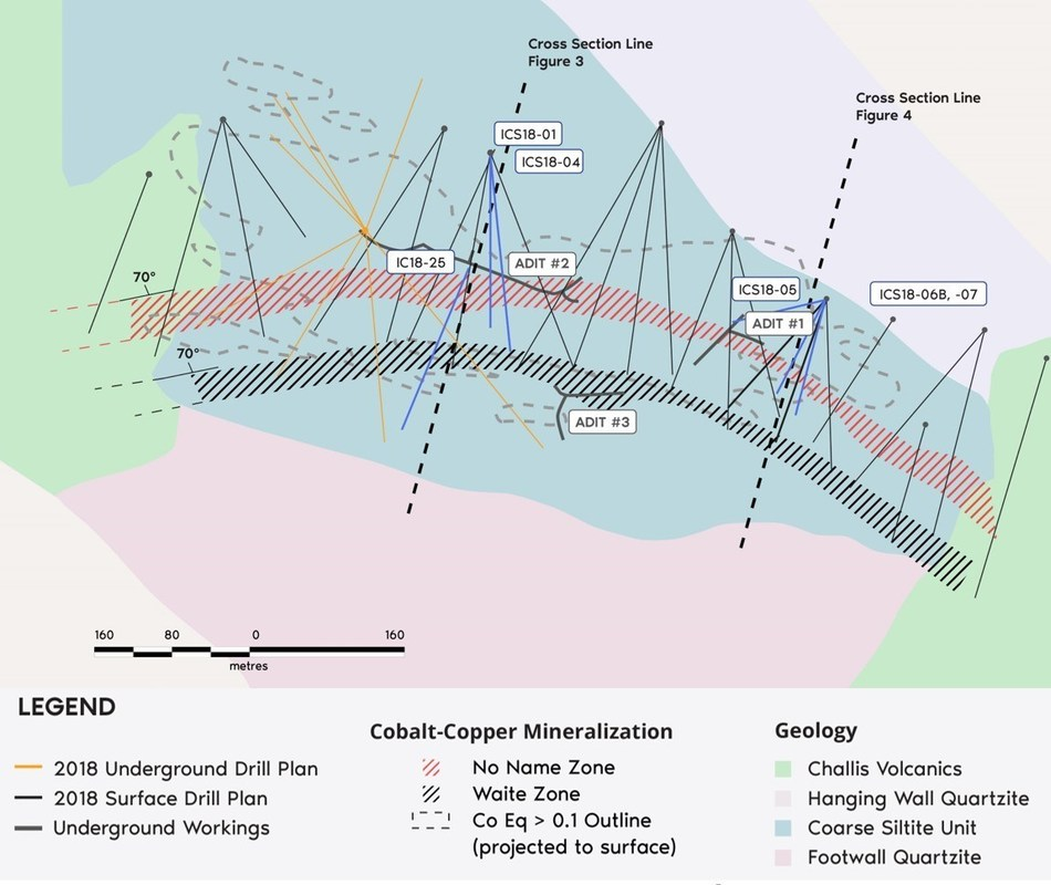 Figure 1. Bedrock geology and surface expression of cobalt-copper mineralization at Iron Creek. (CNW Group/First Cobalt Corp.)