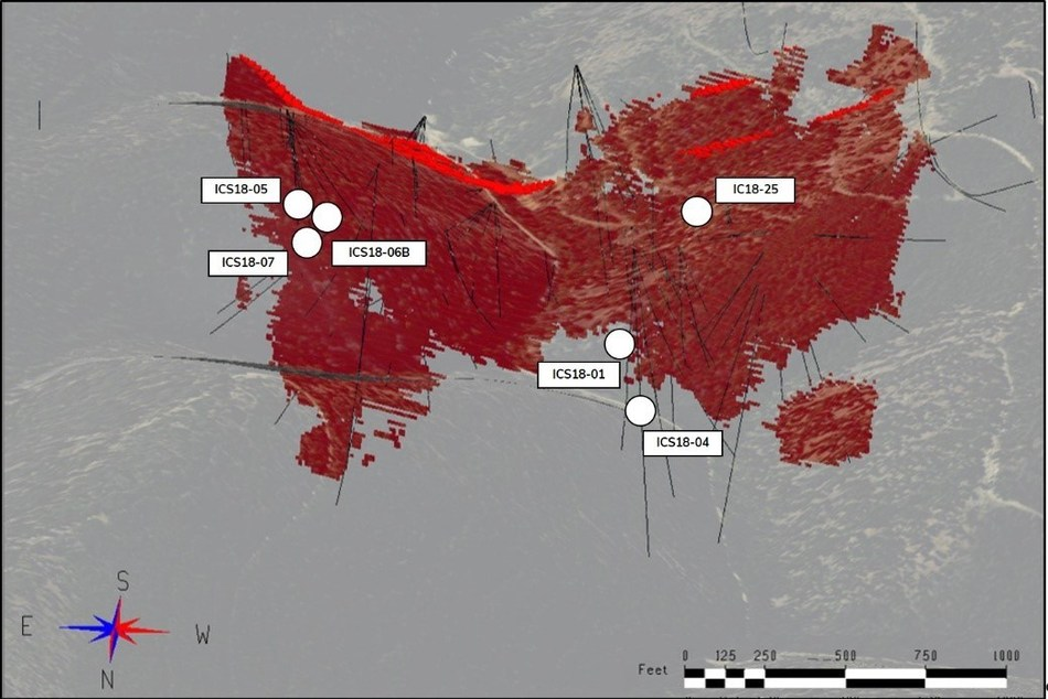 Figure 2. Pierce point locations of holes in this press release relative to the estimated >0.18% CoEq Inferred Resources (red). Diamond drill holes are shown in black. Topographic surface is shown for reference. View is azimuth 175 deg. and dip -33 deg. (CNW Group/First Cobalt Corp.)
