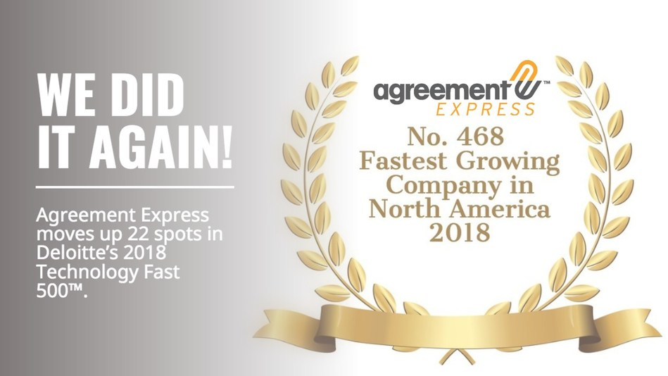 Agreement Express Ranked Number 468 Fastest Growing Company in North America on Deloitte's 2018 Technology Fast 500™ (CNW Group/Agreement Express)