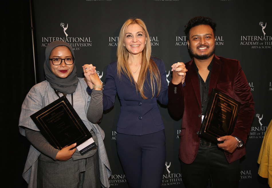 CREDIT: Noa Grayevsky | JCS International President Michal Grayevsky with Young Creatives Award winners Raj Dutta of India and Puti Puar of Indonesia