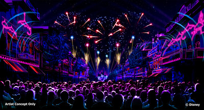 """""""Mickey's Mix Magic"""" – a new nighttime spectacular coming to Disneyland Resort in January 2019 – will light up the night at Disneyland Park with all-new music, projections and lasers that will set the scene for an epic dance party that takes over almost the entire park. (Disney)"""