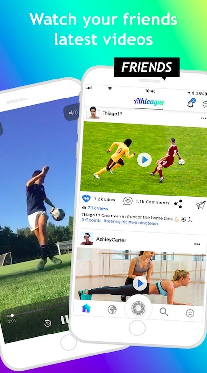 Athletes can watch their friends latest videos.