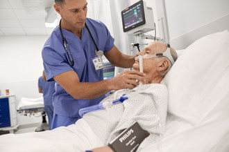 Philips V60 Plus enables clinicians to enhance patient outcomes with less invasive respiratory care therapies and improve clinician workflow. (PRNewsfoto/Royal Philips)