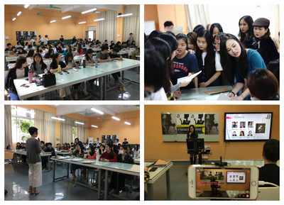 Students of the Guangzhou Panyu Polytechnic learn about the JNA Jewellery Design Competition 2018/19 during the workshop, which the college also broadcast live on its official channels