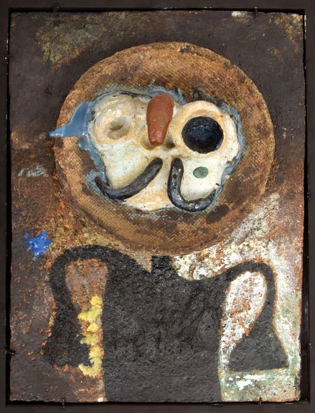 Joan Miro (Spanish, 1893-1983), Personnage Au Nez Rouge, painted and glazed assembled ceramic, 17.5in. x 13in. Listed in artist's catalogue raisonne. Provenance (partial): Galerie Maeght, Paris; Pierre Matisse Gallery, Mr. & Mrs. Morton Neumann, Chicago; et al. Estimate: $300,000-$500,000