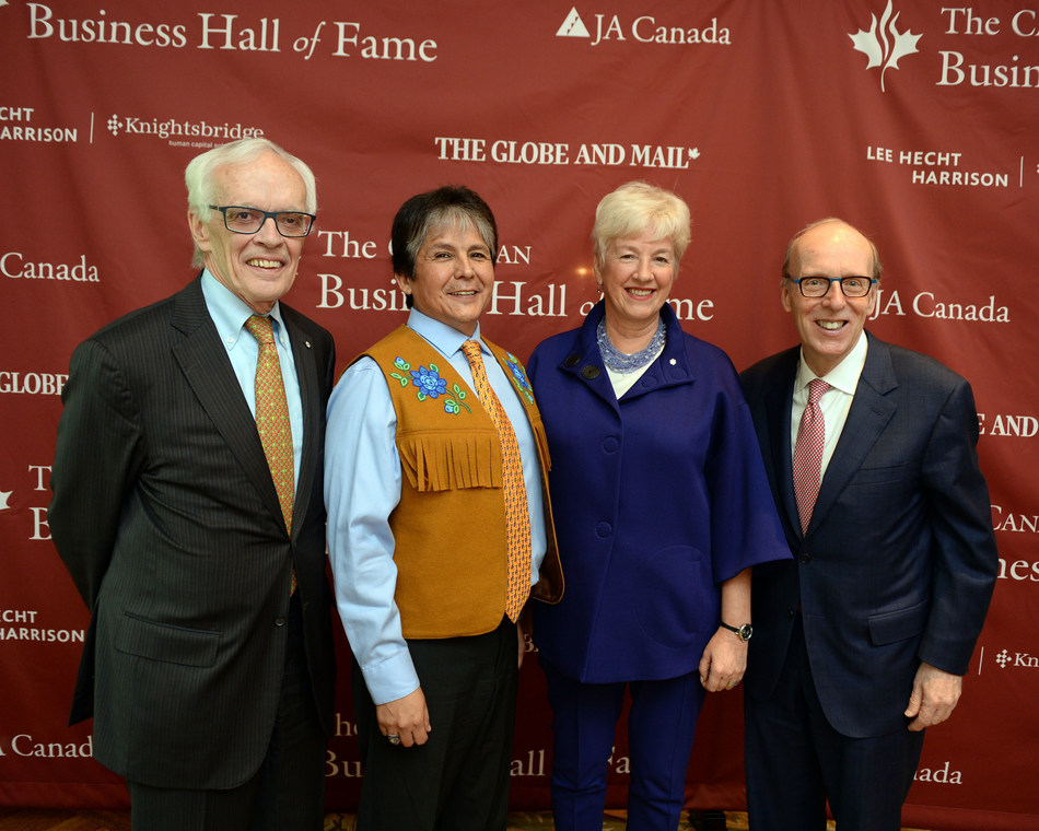 From left to right: Claude Lamoureux O.C., FCIA, Chief Clarence Louie O.C., Annette Verschuren O.C., Stephen J. R. Smith. Photo credit: Tom Sandler (CNW Group/JA Canada)