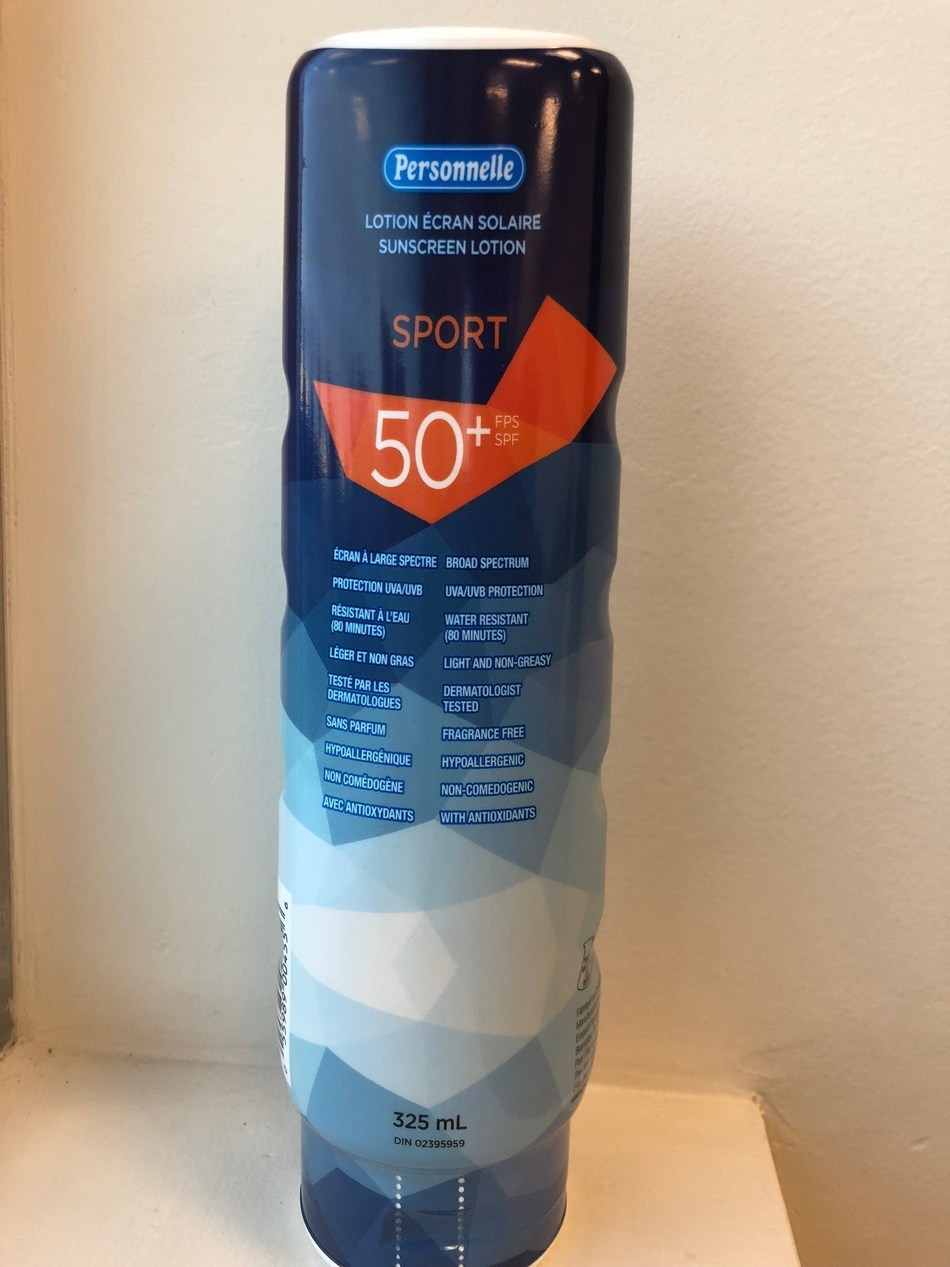 Personnelle Sport Sunscreen Lotion SPF 50+ (CNW Group/Health Canada)
