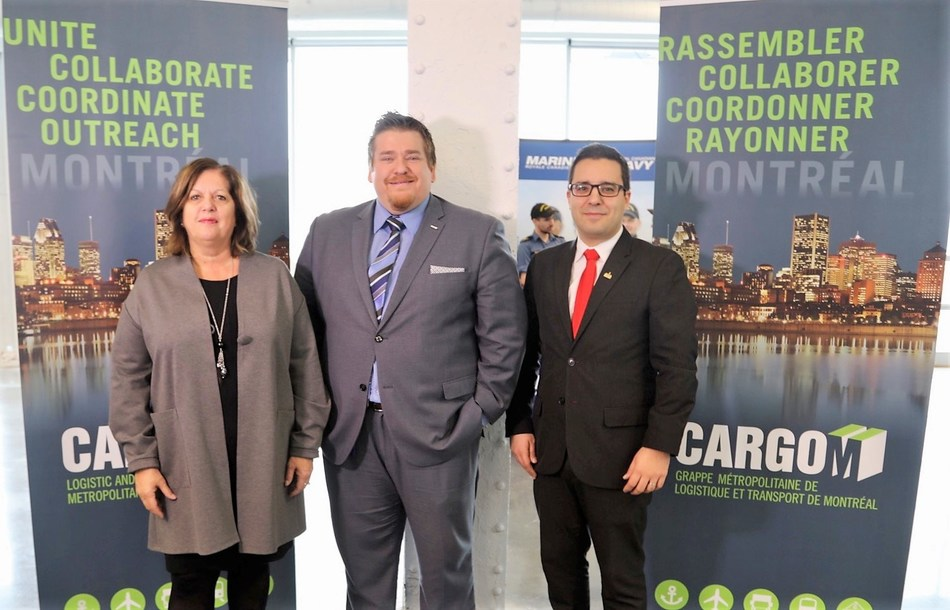 From left to right, Sylvie Vachon, President and Chief Executive Officer, Montreal Port Authority and Chair of CargoM, Mathieu Charbonneau, Executive Director and Robert Beaudry, Member of the executive committee, in charge of economic and commercial development and government relations. (CNW Group/Metropolitan Cluster of logistics and transportation in Montreal)