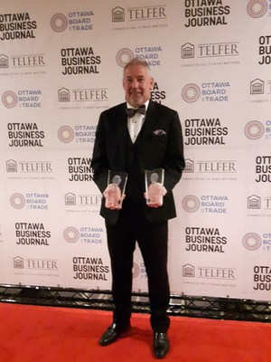 John Proctor, CEO of Martello, accepted two awards at the 2018 Best Ottawa Business Awards (BOBs) Gala on November 16th. (CNW Group/Martello Technologies Group)