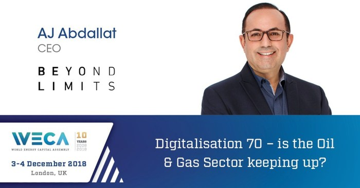 """The keynote address on """"Digitalization - Is the Oil and Gas sector keeping up?"""" will be presented by Beyond Limits' CEO, AJ Abdallat."""
