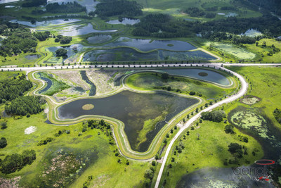 An aerial photo of the Pasco County's Beneficial Water Reuse Project, known as the 4G Wetlands. Image credit: Aerial Innovations, 2017.