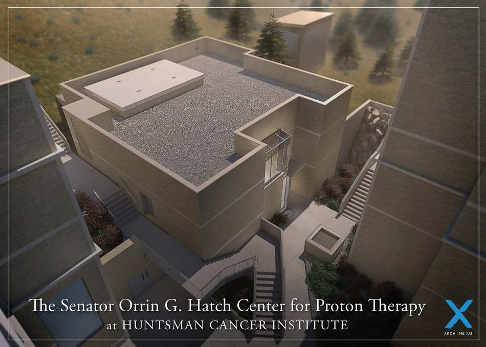 An artist's rendering of The Senator Orrin G. Hatch Center for Proton Therapy at Huntsman Cancer Institute