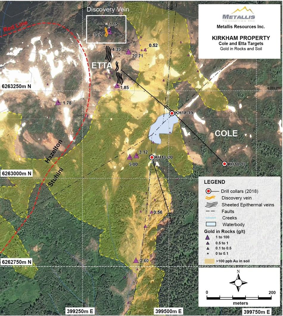 Metallis Resources Inc - Etta & Cole Targets  - GeoChem Map (CNW Group/Metallis Resources Inc.)