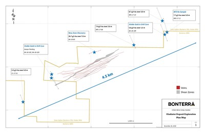 Gladiator Deposit Exploration - Plan Map (CNW Group/Bonterra Resources Inc.)