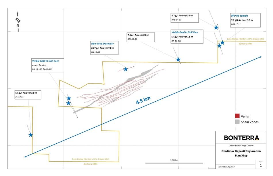Gladiator Deposit Exploration - Plan Map (CNW Group/Bonterra Resources Inc.)