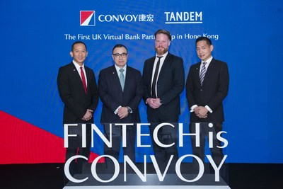 Starting from the left Mr. Patrick Ho, Chief Digital Officer of Convoy Global Holdings Limited, Mr. Ng Wing Fai Group President and Executive Director of Convoy Global Holdings Limited, Mr. Ricky Knox, Chief Executive Officer & Co-founder of Tandem and Mr. Michael Yap, Head of Venture Capital of Convoy Global Holdings Limited announced the strategic partnership during the press conference.