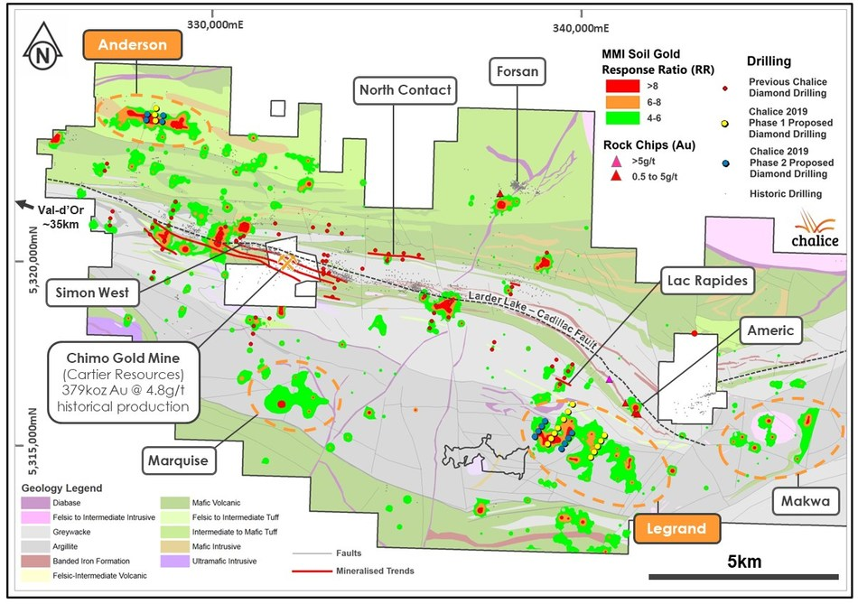 Figure 1. Planned 2019 DDH collars over MMI gold-in-soil and interpreted geology (CNW Group/Chalice Gold Mines Limited)
