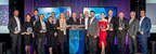 Les lauréats de la neuvième édition du Gala EnviroLys accompagnés de madame Sonia Gagné, PDG de RECYC-QUÉBEC (Groupe CNW/Conseil des entreprises en technologies environnementales du Québec (CETEQ))
