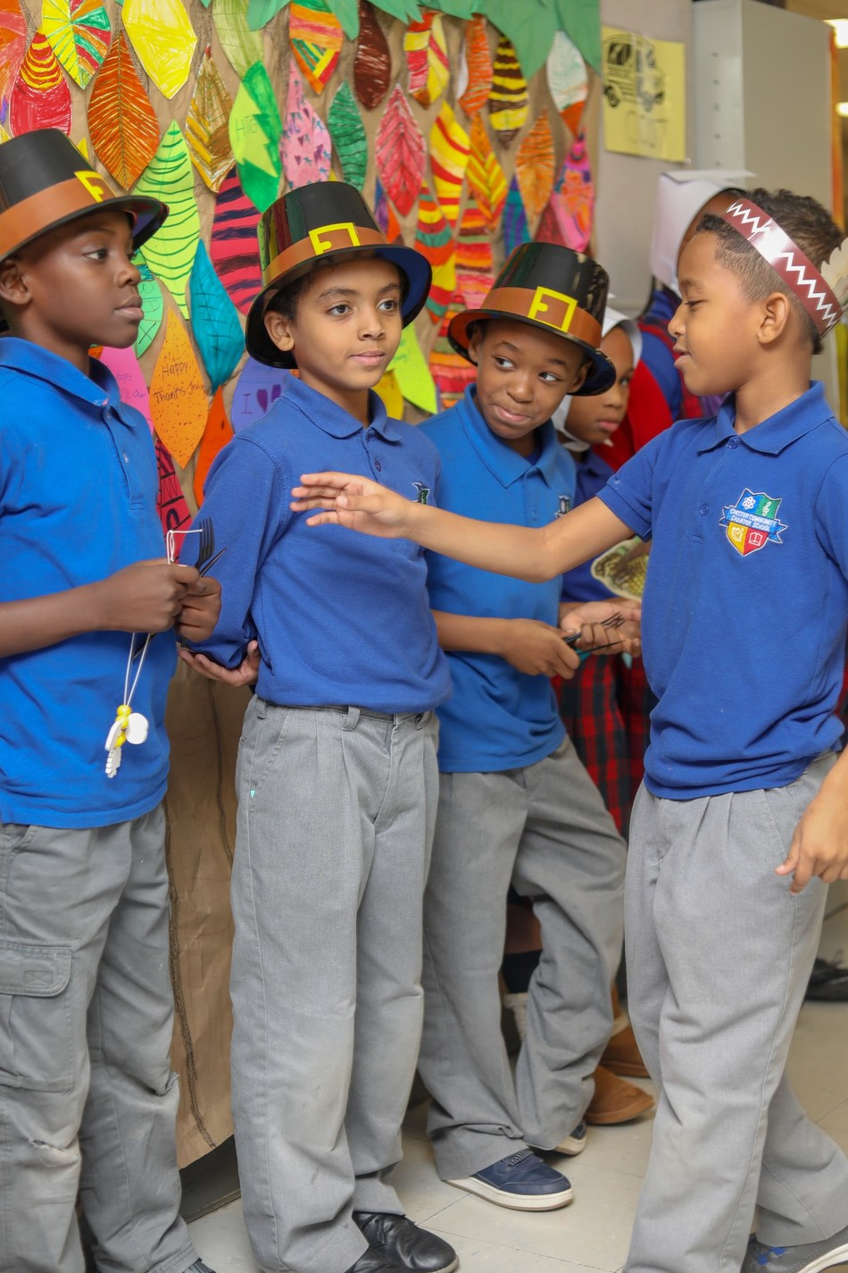 CCCS students in Thanksgiving Play dressed as Pilgrims and Indians
