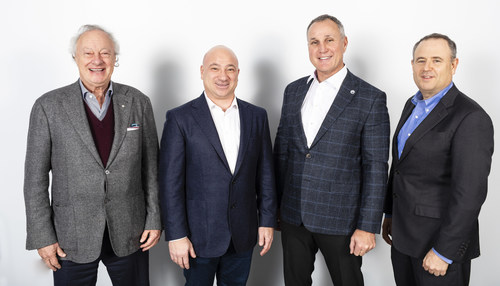 L-R Martin Goldfarb, Danny Ardellini, NHL legend Paul Coffey and Alon Ossip launch Environmental 360 Solutions and complete first acquisition. Photo: Andrew Rowat (CNW Group/Almada Inc)