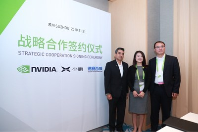 Dr. GU Junli, Vice President of Autonomous Driving at XPENG Motors; Mr. Rishi Dhall, Vice President of Automotive Business Development at NVIDIA; and Mr. GAO Dapeng, CEO of Desay SV attended the signing ceremony at GTC China, the annual NVIDIA GPU Technology Conference held in Suzhou.