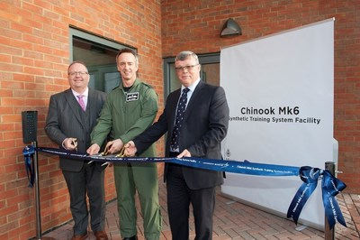Paul Livingston (left), vice president and group managing director, Lockheed Martin UK Rotary and Mission Systems; Group Captain Lee Turner, RAF Odiham station commander; and Jon Haiselden, head of air systems, equipment for DE&S cut the ribbon at the Chinook Mk6 Synthetic Training System Facility at RAF Odiham.
