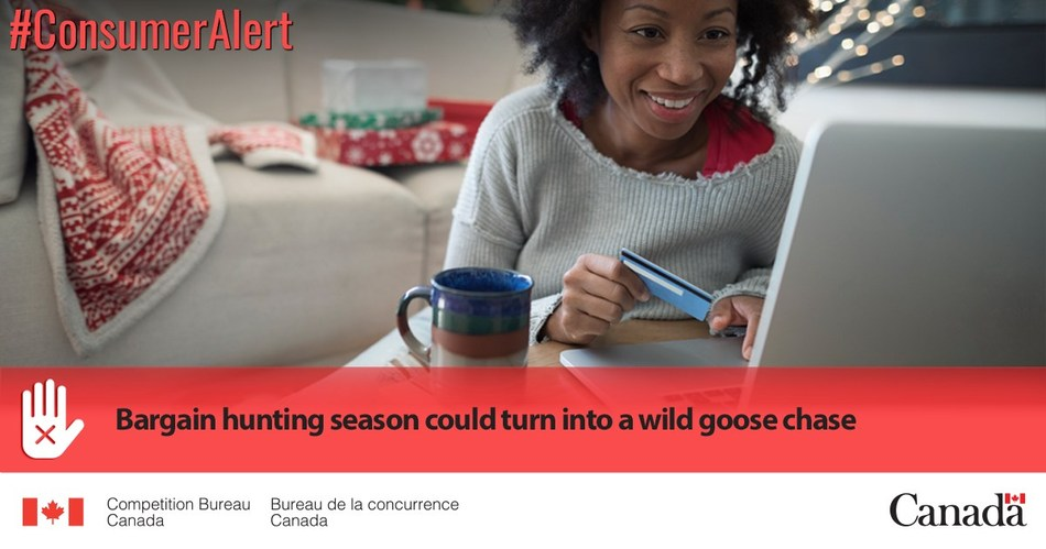 The biggest online shopping events of the year are coming up. Nearly half of Canadians are expected to be joining the online hunt for bargains this Black Friday and Cyber Monday. If you're one of them, before going wild take a minute to learn about an advertising trend that's on the Competition Bureau's radar: cancelled discounts. (CNW Group/Competition Bureau)