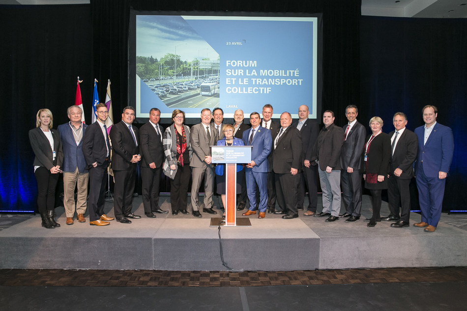 Unprecedented collective of 19 municipalities spanning Laval and the Lower Laurentians, initiated by the City of Laval and supported by the STL and exo. All joined forces to organize a one-day forum in Laval last April 23, focused on assessing traffic concerns on the North Shore and tabling solution ideas. (CNW Group/Société de transport de Laval)
