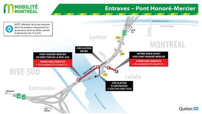 Entraves - Pont Honoré-Mercier (Groupe CNW/Ministère des Transports)