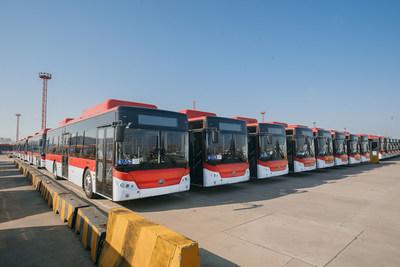 Ônibus elétrico puro Yutong E12 (PRNewsfoto/Yutong Bus)