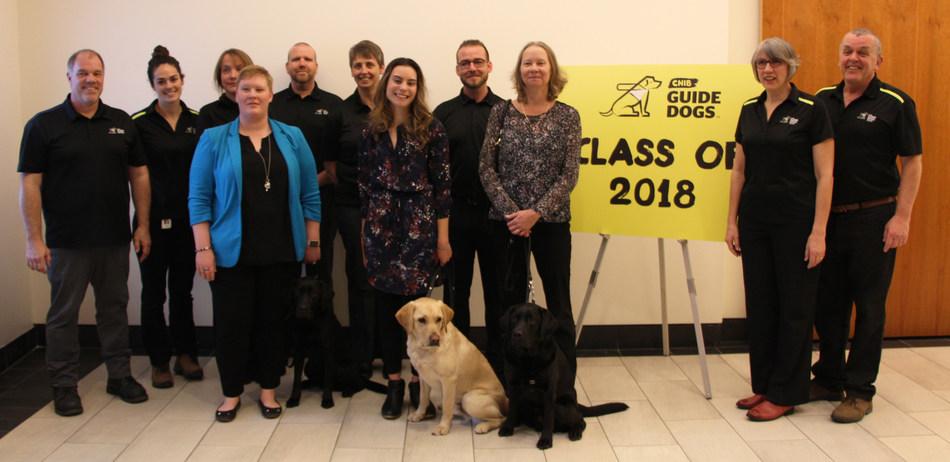 CNIB Guide Dogs graduating class with training staff. (CNW Group/CNIB)