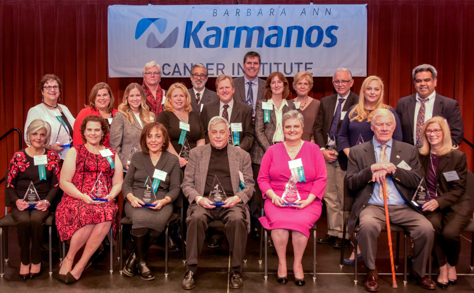 Karmanos Cancer Institute in Detroit honored its 2018 Heroes of Cancer at a recent awards ceremony. This year's event marked Karmanos' 24th year of recognizing outstanding recipients who go above and beyond to help those impacted by cancer. This year's inspiring honorees are: back row left to right: Bridget Long, Paul Corvino, John Raithel and Terrance Albrecht; second row, Rosanne Ferrarotti, Gianna Ferrarotti, Rachael Cook, Lori Stauffer, Larry Matherly, Ann Schwartz, Dr. Joseph Uberti, Kristen Jordan Shamus and Dr. Abhinav Deol; seated are Sheila Sky Kasselman, Kimberlie Newton, Hiam Hamade, Larry Brown, Josephine Roach, Jack Ripper and Cathy Ripper. Missing from the photo is Dr. Jeffrey Zonder. Photo by Timothy Haunert