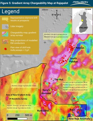 Figure 5: Gradient Array Chargeability Map at Rajapalot (CNW Group/Mawson Resources Ltd.)