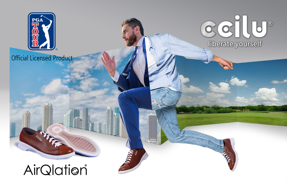 Ccilu Footwear and PGA TOUR have announced a long-term License Agreement to create a special sports/lifestyle footwear collection -- PGA TOUR by Ccilu, will span sandals, flip-flops, casual footwear, sneakers, and boots from 2019. (PRNewsfoto/CCILU Footwear)