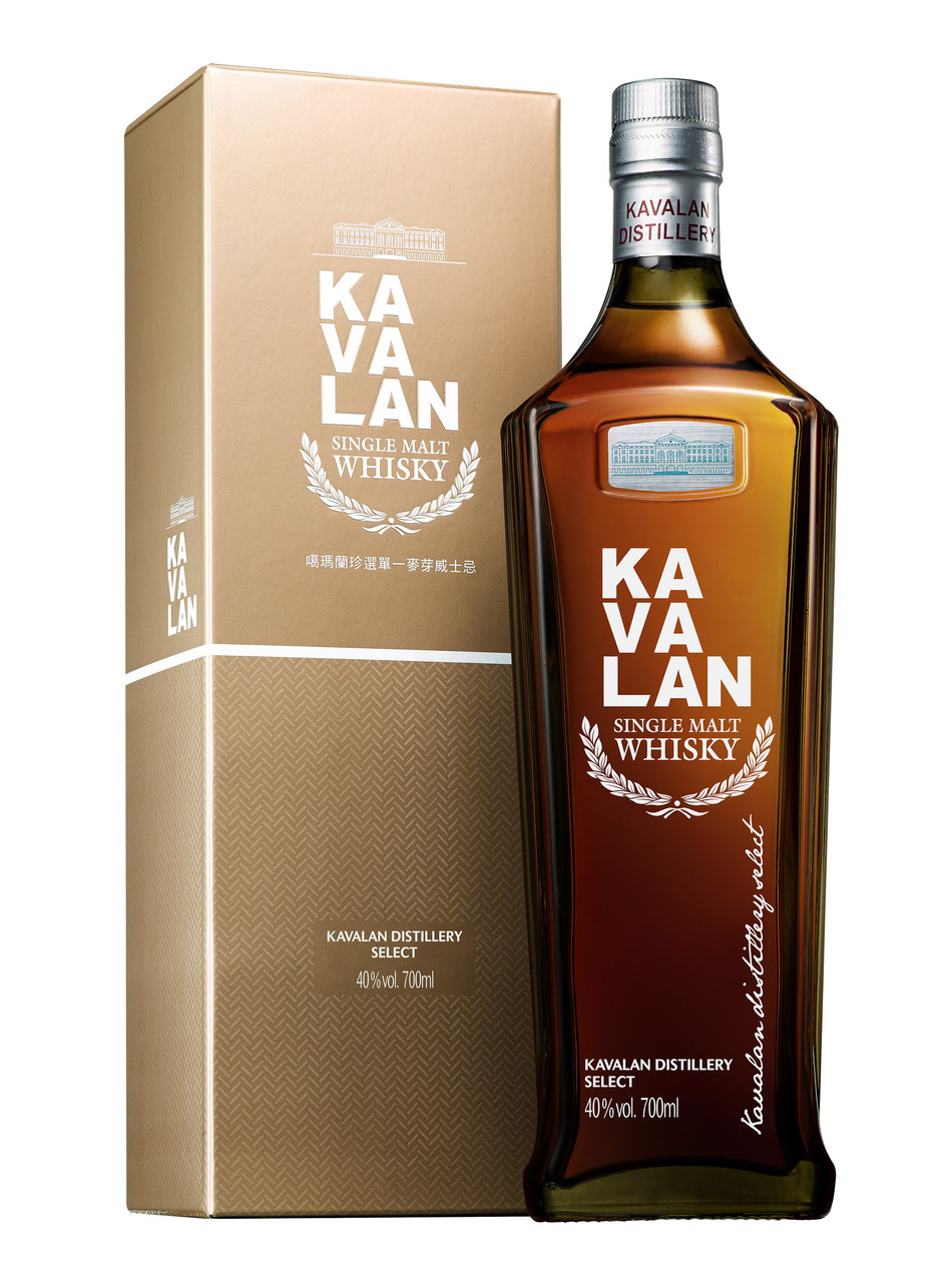 Kavalan's latest release, Distillery Select, sold in the bottle with a silhouette inspired by the shape of Taiwan's tallest skyscraper the Taipei 101 (PRNewsfoto/Kavalan)