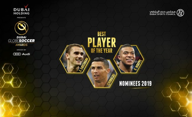 Cristiano Ronaldo, Kylian Mbappé and Antoine Griezmann will fight it out for the Best Player Award at the 10th edition of the Globe Soccer Awards.