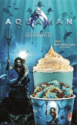 Aquaman's Blue Velvet Brownie Creation features Blue Velvet Cake Ice Cream with Brownie, Chocolate Chips and Edible Glitter. Aquaman's Blue Velvet Shake is made with Blue Velvet Cake Ice Cream with Yellow Cake garnished with Whipped Topping and Edible Glitter.