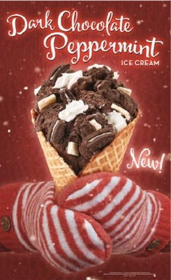 Dark Chocolate Merry-mint™ – Dark Chocolate Peppermint Ice Cream with Ghirardelli® Peppermint Pieces, OREO® Cookies and Whipped Topping