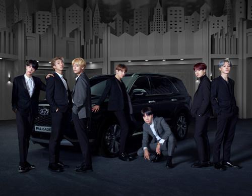 Hyundai Palisade with global boyband BTS (from left; Jin, RM, V, Jung Kook, j-hope, SUGA, Jimin)