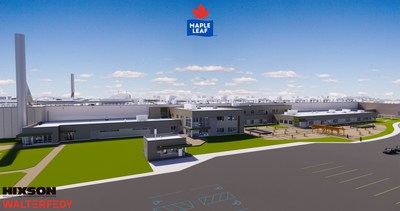 Rendu d'architecture de la future usine de volaille des Aliments Maple Leaf à London, Ontario. (Groupe CNW/Les Aliments Maple Leaf Inc.)