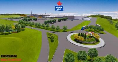 Vue aérienne de l'emplacement de la future usine de volaille des Aliments Maple Leaf à London, Ontario. (Groupe CNW/Les Aliments Maple Leaf Inc.)