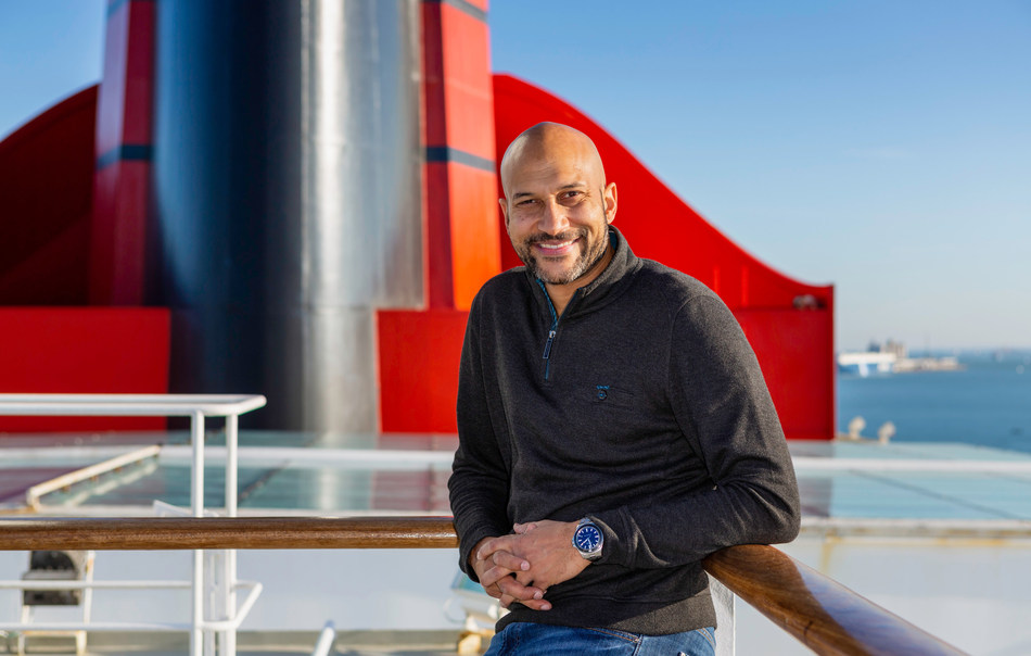Luxury cruise line Cunard welcomed actor, writer, and producer Keegan-Michael Key on flagship ocean liner Queen Mary 2 on Sunday, Nov. 18, 2018 (Chris Ison for Cunard)