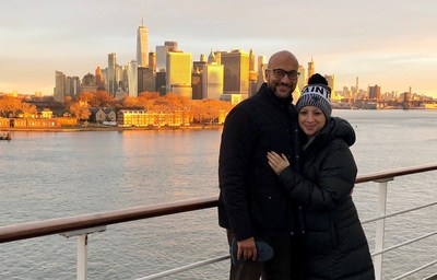 Actor, writer, and producer Keegan-Michael Key (left) with wife Elisa Key (right) pose upon arrival in New York City on Queen Mary 2 on Sunday, Nov. 25, 2018