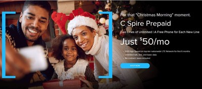 With the holidays just around the corner, C Spire has unveiled a new prepaid plan that promises to shake up the wireless industry with two lines of unlimited basic data, talk and text for only $50 a month on the nation's only customer-inspired 4G LTE network