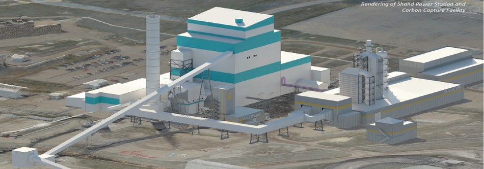 Illustrative rendering of the Shand Power Station with an appended carbon capture facility (CNW Group/International CCS Knowledge Centre)