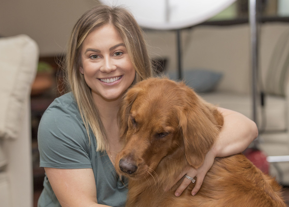 """Olympic Gold Medalist Shawn Johnson and her Golden Retriever """"Nash"""" are representing the Sporting Group and #TeamGolden in this year's AKC National Championship Dog Show Presented by Royal Canin, airing on Animal Planet on Monday, January 1, 2019 at 6 p.m. ET."""