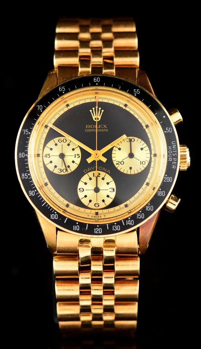 "Rolex Daytona Ref 6241 ""Paul Newman"" 18K gold Chronograph, 'John Player Special' dial with gold subdials, immaculate condition, Swiss single owner (never exported). Est. $400,000-$800,000"